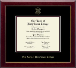 Our Lady of Holy Cross College Diploma Frame - Gold Embossed Diploma Frame in Gallery