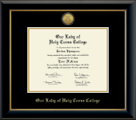 Our Lady of Holy Cross College Diploma Frame - Gold Engraved Medallion Diploma Frame in Onyx Gold