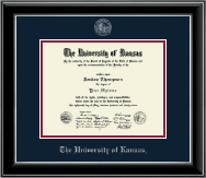 The University of Kansas Diploma Frame - Silver Embossed Diploma Frame in Onyx Silver
