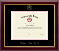 Sigma Tau Delta Certificate Frame - Gold Embossed Certificate Frame in Gallery