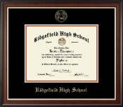 Ridgefield High School in Connecticut Diploma Frame - Gold Embossed Diploma Frame in Studio Gold