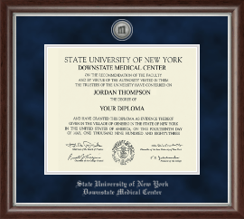 SUNY Downstate Medical Center Diploma Frame - Silver Engraved Medallion Diploma Frame in Devonshire