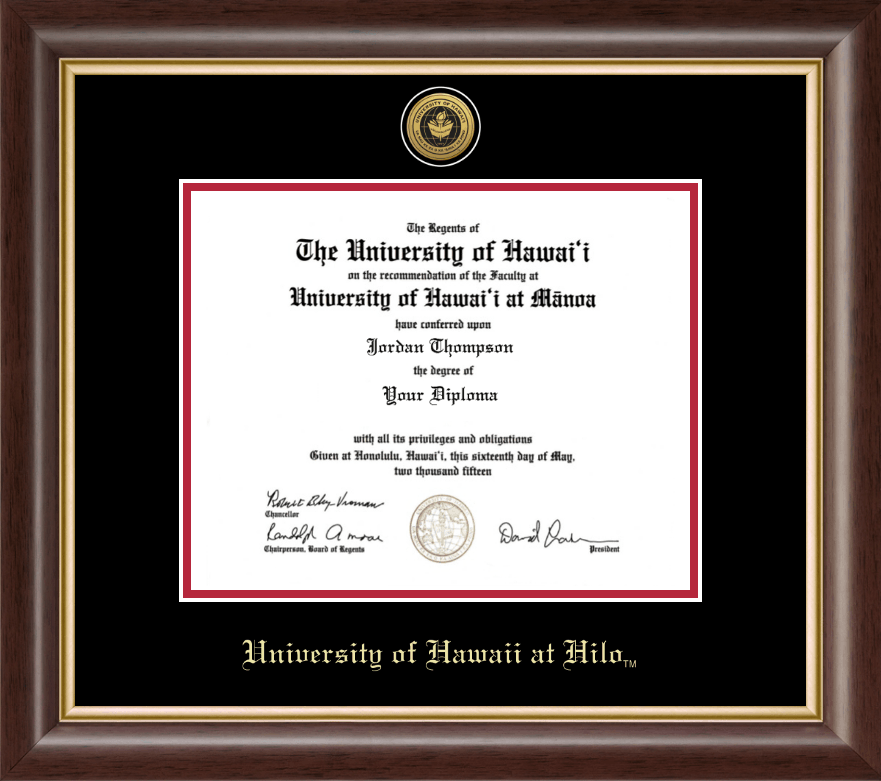 University Of Hawaii At Hilo Gold Engraved Medallion Diploma Frame In Hampshire