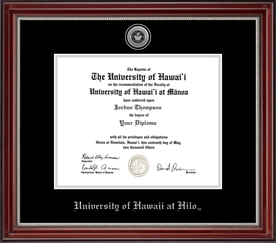 University of Hawaii at Hilo Silver Engraved Medallion Diploma Frame ...