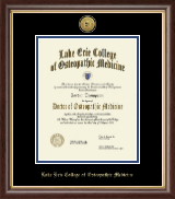 Lake Erie College of Osteopathic Medicine Diploma Frame - Gold Engraved Medallion Diploma Frame in Hampshire