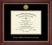 Eastern Maine Community College Diploma Frame - Gold Engraved Medallion Diploma Frame in Kensington Gold