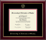 University of  Nebraska at Omaha Diploma Frame - Gold Embossed Diploma Frame in Gallery