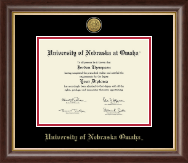 University of  Nebraska Omaha Diploma Frame - Gold Engraved Medallion Diploma Frame in Hampshire