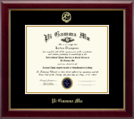 Pi Gamma Mu Honor Society Certificate Frame - Gold Embossed Certificate Frame in Gallery