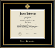 Emory University  Diploma Frame - Gold Engraved Medallion Diploma Frame in Onyx Gold