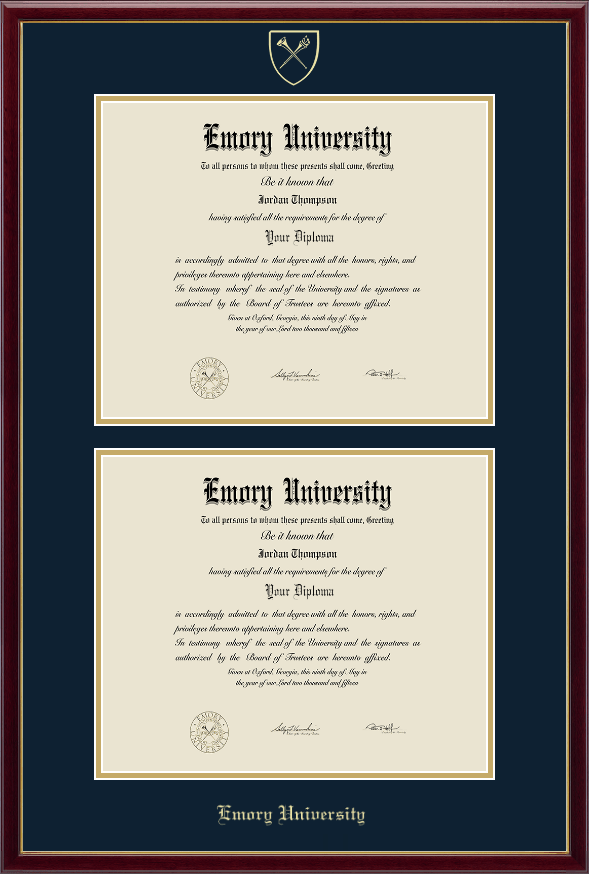 emory university double document diploma frame in galleria item 217699 from emory university bookstore