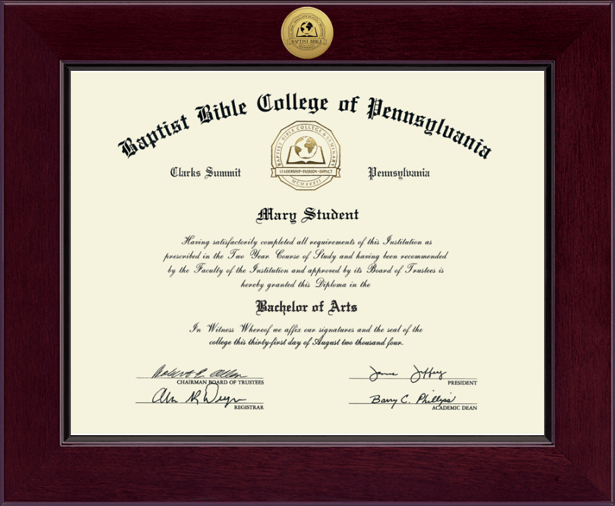 Baptist Bible College And Seminary Century Gold Engraved Diploma Frame In Cordova Item 217744