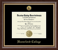 Haverford College Diploma Frame - Gold Engraved Medallion Diploma Frame in Hampshire