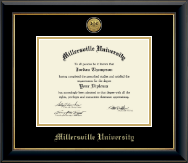 Millersville University of Pennsylvania Diploma Frame - Gold Engraved Medallion Diploma Frame in Onyx Gold