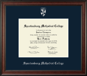 Spartanburg Methodist College Diploma Frame - Silver Embossed Diploma Frame in Studio