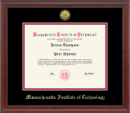 Massachusetts Institute of Technology Diploma Frame - Gold Engraved Medallion Diploma Frame in Signature