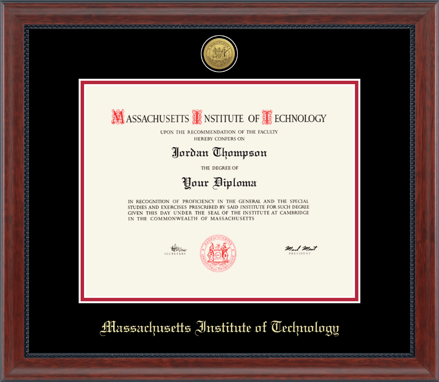 massachusetts institute of technology diploma frame gold engraved medallion diploma frame in signature - Dual Diploma Frame
