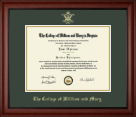 William & Mary Diploma Frame - Gold Embossed Diploma Frame in Cambridge