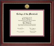 College of the Mainland Diploma Frame - Gold Engraved Medallion Diploma Frame in Kensington Gold