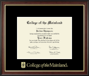 College of the Mainland Diploma Frame - Gold Embossed Diploma Frame in Studio Gold