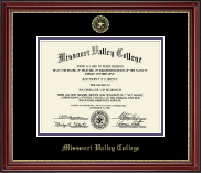 Missouri Valley College Diploma Frame - Gold Embossed Diploma Frame in Kensington Gold