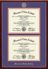 Missouri Valley College Diploma Frame - Gold Embossed Double Diploma Frame in Galleria