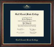 Gulf Coast State College Diploma Frame - Gold Embossed Diploma Frame in Studio Gold