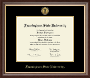 Framingham State University  Diploma Frame - Gold Engraved Medallion Diploma Frame in Hampshire