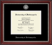 University of Indianapolis Diploma Frame - Silver Engraved Medallion Diploma Frame in Kensington Silver