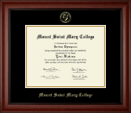 Mount Saint Mary College Diploma Frame - Gold Embossed Diploma Frame in Cambridge