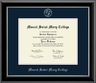 Mount Saint Mary College Diploma Frame - Silver Embossed Diploma Frame in Onyx Silver