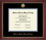 Mount Saint Mary College Diploma Frame - Gold Engraved Medallion Diploma Frame in Kensington Gold