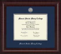 Mount Saint Mary College Diploma Frame - Presidential Silver Engraved Diploma Frame in Premier