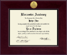 Worcester Academy Diploma Frame - Century Gold Engraved Certificate Frame in Cordova