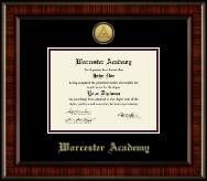 Worcester Academy Diploma Frame - Gold Engraved Medallion Diploma Frame in Ridgewood