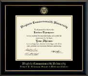 Virginia Commonwealth University Diploma Frame - Gold Embossed Diploma Frame in Onyx Gold