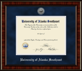 University of Alaska Southeast Diploma Frame - Silver Engraved Medallion Diploma Frame in Ridgewood