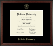 DeSales University Diploma Frame - Gold Embossed Diploma Frame in Studio