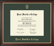 Paul Smith's College Diploma Frame - Gold Embossed Diploma Frame in Studio Gold