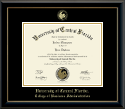 University of Central Florida Diploma Frame - Gold Embossed Diploma Frame in Onyx Gold