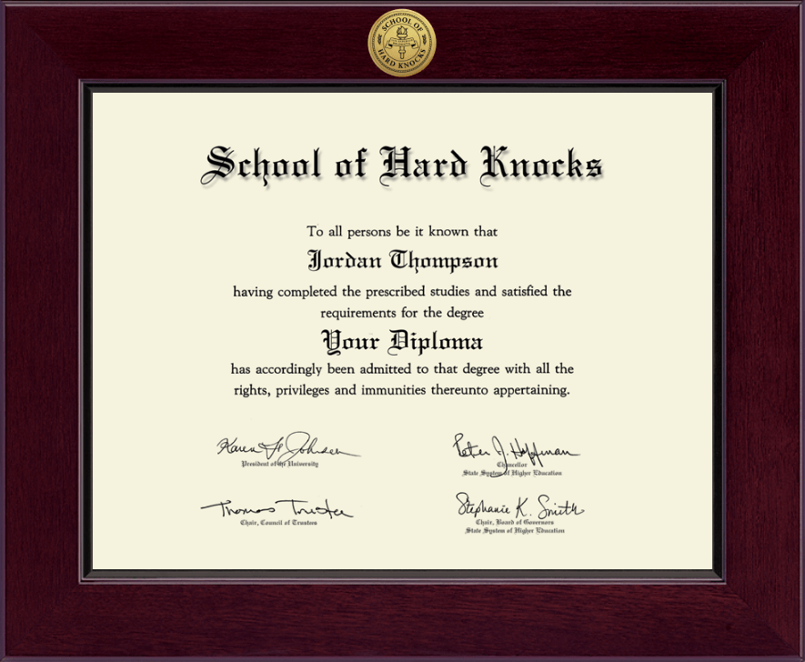 School of Hard Knocks Century Gold Engraved Diploma Frame ...