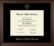 School of Hard Knocks Diploma Frame - Gold Embossed Diploma Frame in Studio