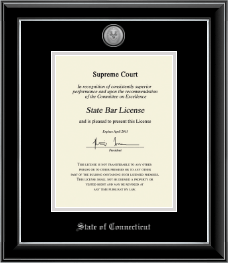 State of Connecticut Certificate Frame - Silver Engraved Medallion Certificate Frame in Onyx Silver