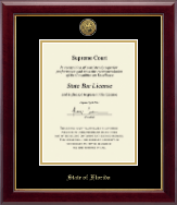 State of Florida Certificate Frame - Gold Engraved Medallion Certificate Frame in Gallery