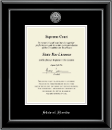 State of Florida Certificate Frame - Silver Engraved Medallion Certificate Frame in Onyx Silver