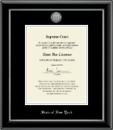 State of New York Certificate Frame - Silver Engraved Medallion Certificate Frame in Onyx Silver