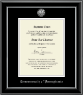 Commonwealth of Pennsylvania Certificate Frame - Silver Engraved Medallion Certificate Frame in Onyx Silver