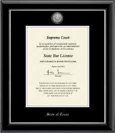 State of Texas Certificate Frame - Silver Engraved Medallion Certificate Frame in Onyx Silver