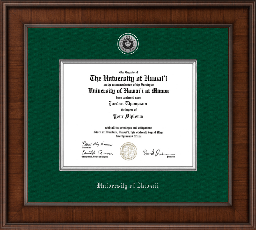 University Of Hawaii At Manoa Presidential Silver Engraved Diploma Frame In Madison