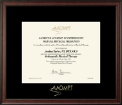 American Academy of Orthopaedic Manual Physical Therapists Certificate Frame - Gold Embossed Certificate Frame in Studio